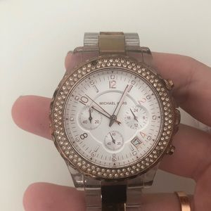 Authentic Michael Kors Rose gold and clear watch